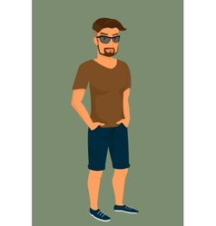 Hipster guy wearing stylish haircut vector