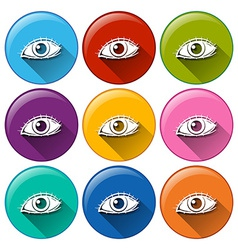 Round icons with eyes vector