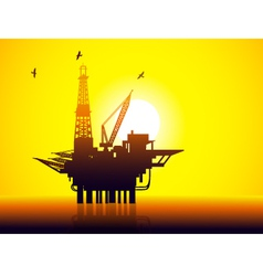 Oil rig and sunrise vector