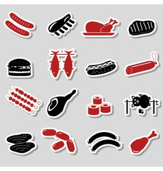 Meat food color stickers and symbols set eps10 vector