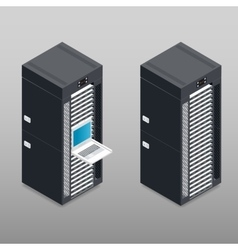 Server tower rack detailed isometric icon vector
