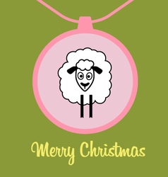 Postcard cute lamb vector