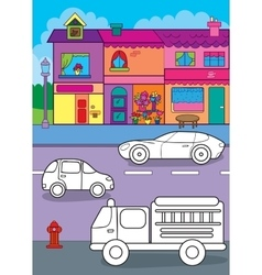 Coloring book of cars on city street vector
