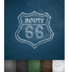 Route 66 icon hand drawn vector