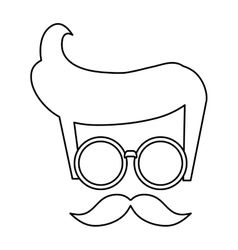 Hipster hair glasses mustache vector