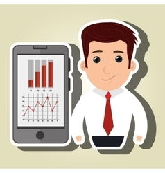 Man red tie smartphone isolated icon design vector