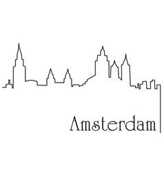 Amsterdam city one line drawing background vector