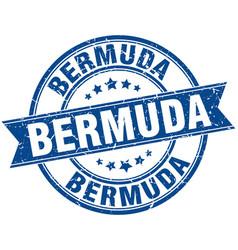 Bermuda blue round grunge vintage ribbon stamp vector