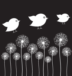 Dandelion and bird vector image vector image