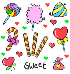Doodle of sweet candy colorful style vector