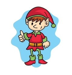 Elf pose cartoon christmas theme vector