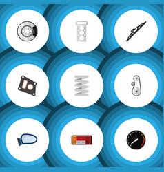 Flat icon auto set of cambelt tachometr auto vector