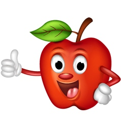 funny red apple thumbs up vector image