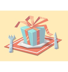 Gift on the plate vector