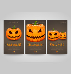 halloween banner set with scary pumpkins poster vector image