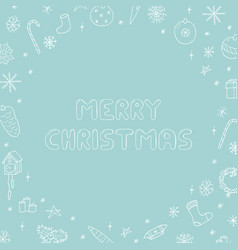 hand drawn merry christmas frame vector image vector image