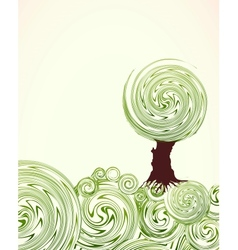 Hand Drawn ornate swirl grass and tree vector image