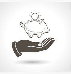 Hand holding piggy bank vector