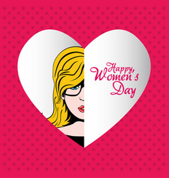 Happy womens day pop art woman dots background vector