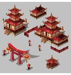 Houses in Japanese style image big set vector image vector image