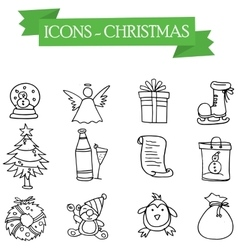 Icon of christmas set element vector