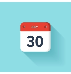 July 30 Isometric Calendar Icon With Shadow vector image vector image