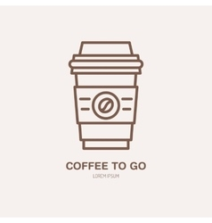 Line icon of coffee to go barista vector