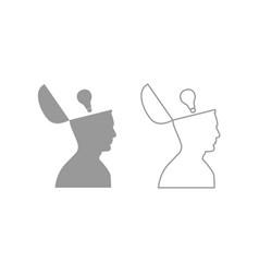 man with lightbulb idea in open head icon set vector image