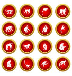 Monkey types icon red circle set vector