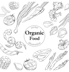 Organic fresh food banner Linear vector image