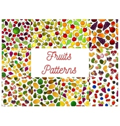 Patterns set of fresh ripe fruits and berries vector image