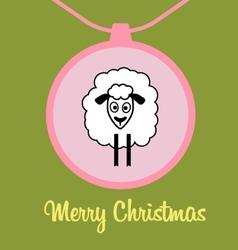 Postcard cute lamb vector image