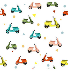 Seamless pattern with scooter vector