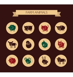 Set of flat design icons with farm animals vector image