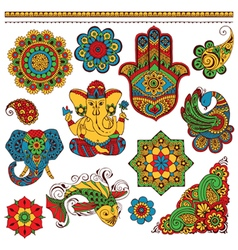 set of Indian symbols for design vector image vector image