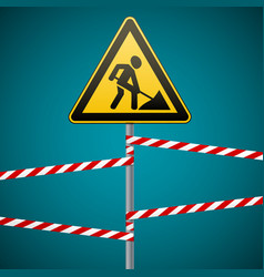 sign repair works and barrier tapes vector image