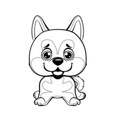 sitting akita inu lovely linear dog vector image vector image