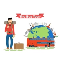 Tourist goes to The Bus Tour of popular familiar vector image