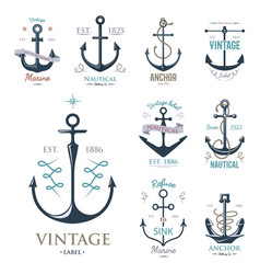 Vintage retro anchor badge sign sea ocean vector