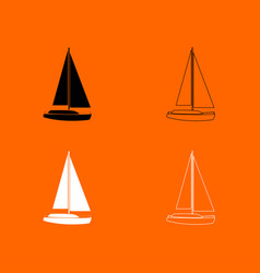 Yacht black and white set icon vector