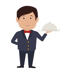 Waiter hotel service isolated icon vector
