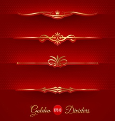 Set of golden decorative dividers vector
