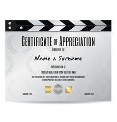 Certificate of appreciation with movie film slate vector