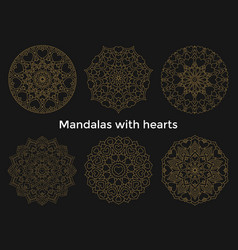 set gold mandalas with hearts collection symmetric vector image