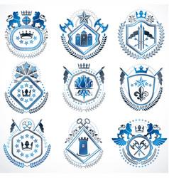 Set of old style heraldry emblems vintage vector