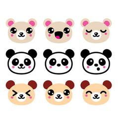 Cute kawaii bear icons set panda bear design vector