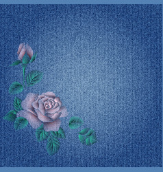 Embroidery roses on denim vector