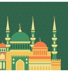Islamic greeting card with mosque in flat design vector