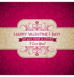 Valentines day greeting card with hearts vector