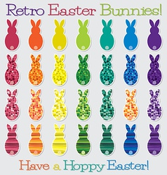 Bright retro happy easter bunny set in format vector